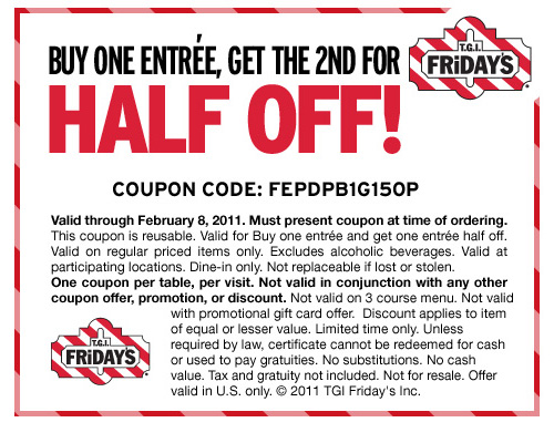 Fridays coupon free entree