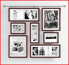 Contemporary Brown Wall Gallery Frame Holds 13 Photos Red