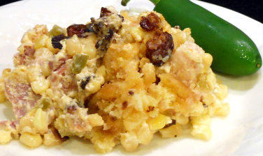 Crock Pot Creamed Corn & Ham Casserole Topped with Bacon and Breadcrumbs