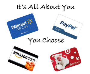 24 Hour Giveaway: Win $50 in Paypal Cash, Walmart, Amazon or Target GC