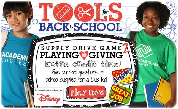 Play to Help Boys and Girls Club of America With Their Tools for Back-To-School Initiative