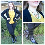 dressy yellow top with jeggings and boots