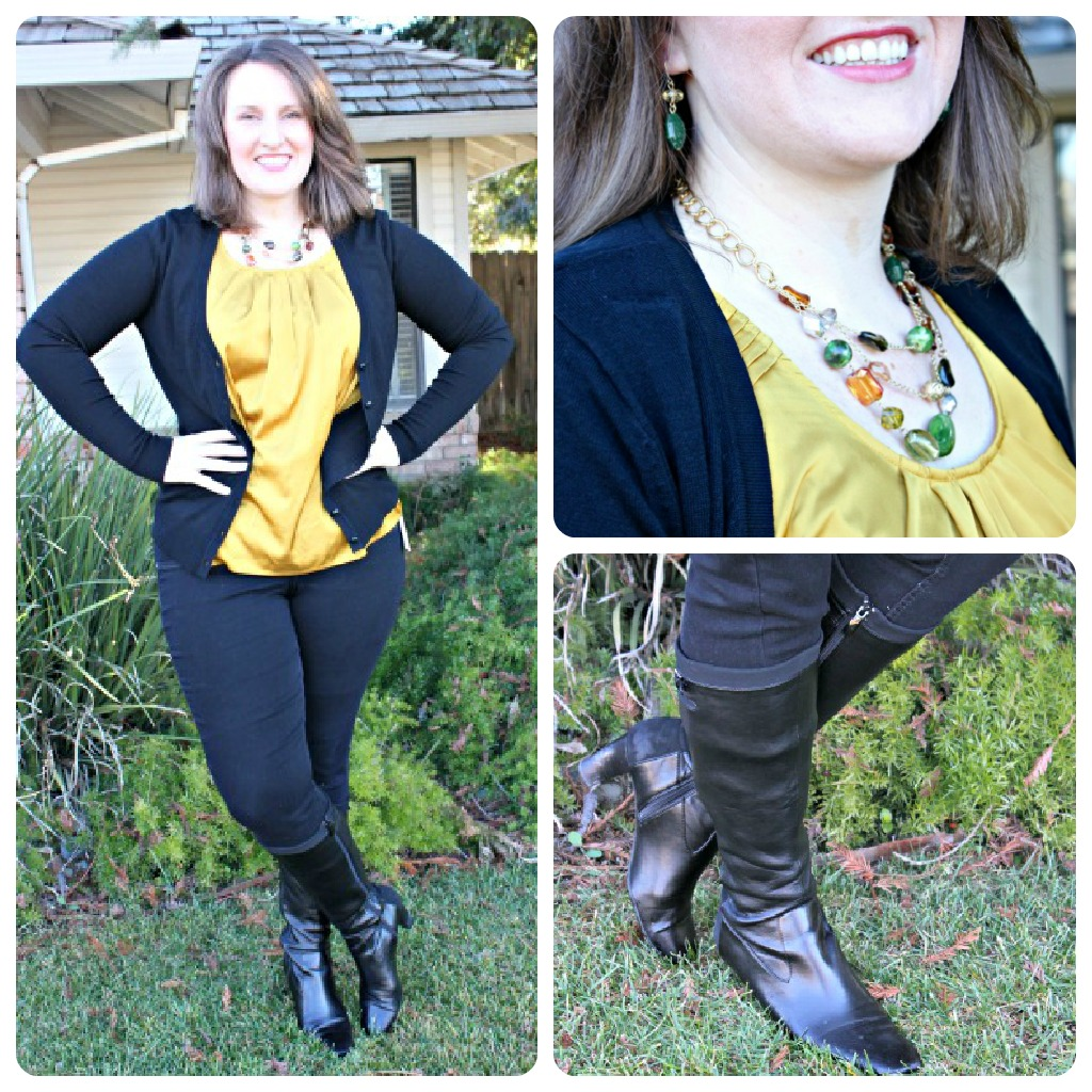 What To Wear: Dressy Yellow Top with Jeggings and Tall Boots