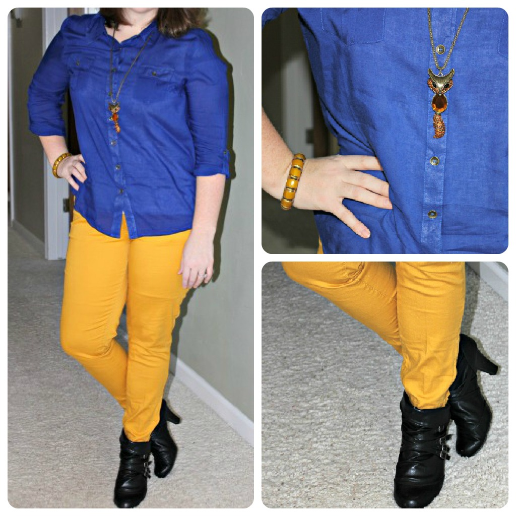 What To Wear: Blue Button Up with Gold Jeans and Short Black Boots