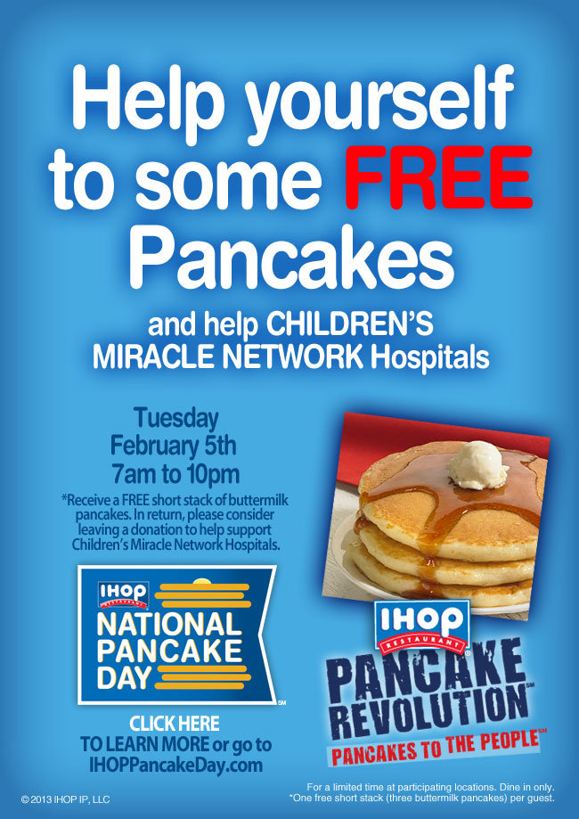 Free Pancakes at IHOP, February 5th