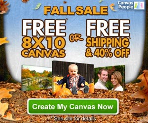 Free 8×10 Canvas Photo or 40% off + Free Shipping (Awesome Gifts)