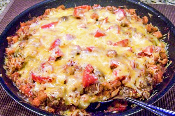 One Skillet Sausage and Stuffing Casserole