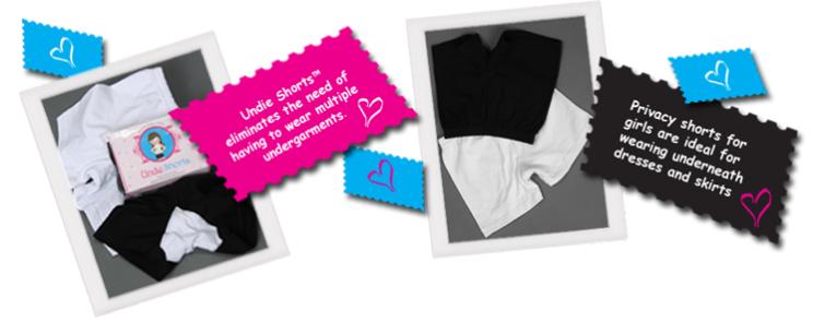 UndieShorts For Girls Size 2-12