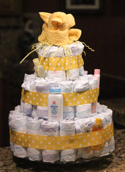 How To Make Baby Shower Diaper Cake Centerpiece