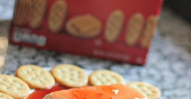 Prickly Pear Pepper Jelly with cream cheese and RITZ crackers