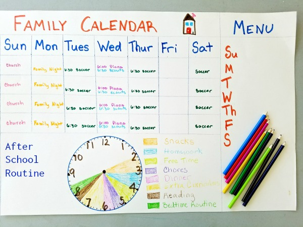 back to school family calendar and after school routine clever