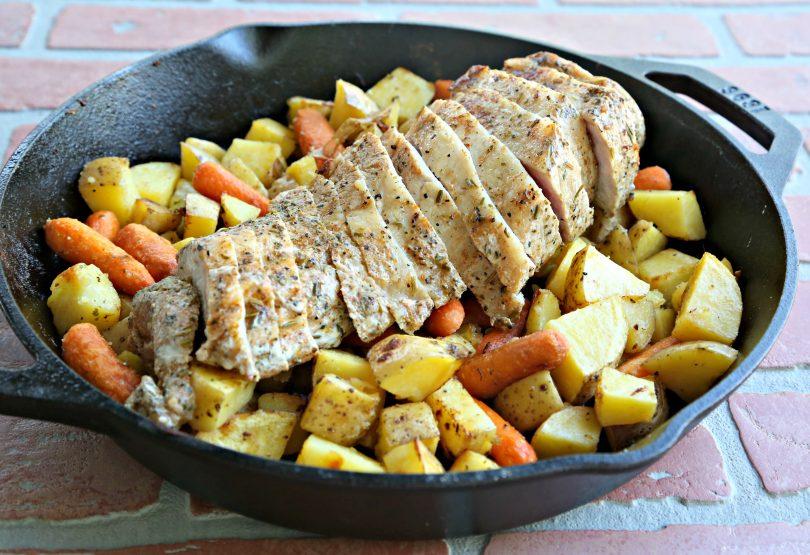 One Pan Garlic & Herb Pork Tenderloin with Veggies