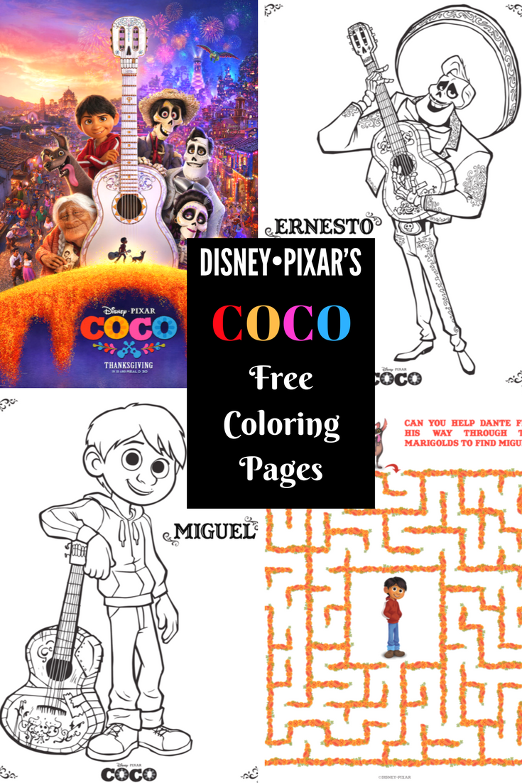 Free Coloring Pages And Activity Sheets For Disney Pixars COCO