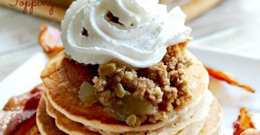 Apple Cider Pancakes witwh Apple Crumb Topping from Eat Move Make