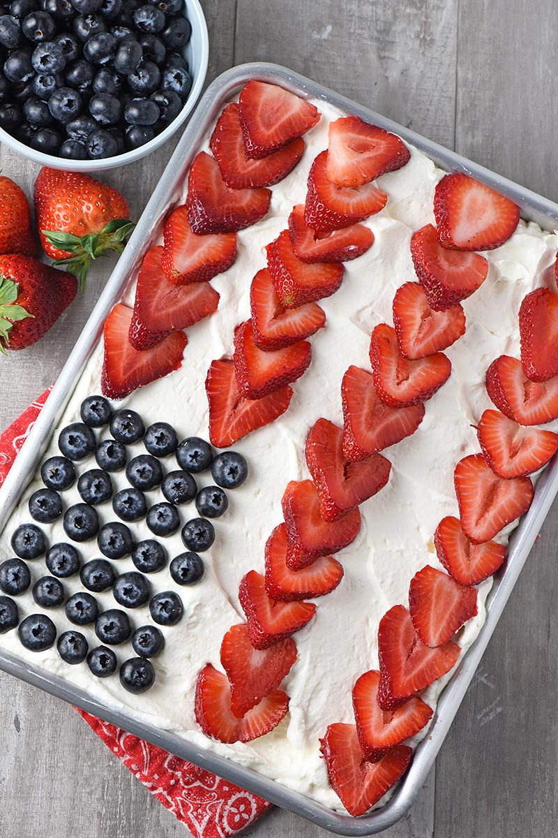 Strawberry Jello Flag Cake from Adventures of Mel