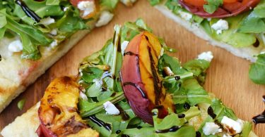 Grilled Peach and Arugula Pizza from Cooking with Curls