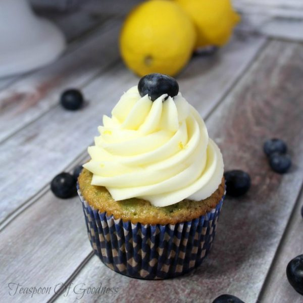 Lemon Blueberry Cupcakes with Lemon Buttercream Frosting from Teaspoon of Goodness