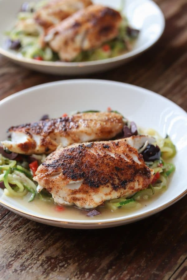 Black Sea Bass with Zucchini Noodles from This Gal Cooks