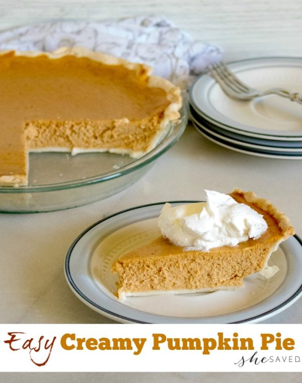 Easy Creamy Pumpkin Pie from She Saved