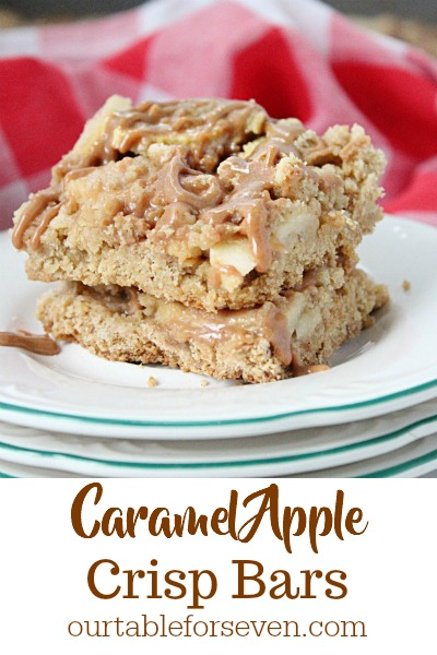 Salted Caramel Apple Crisp Bars from Our Table for Seven