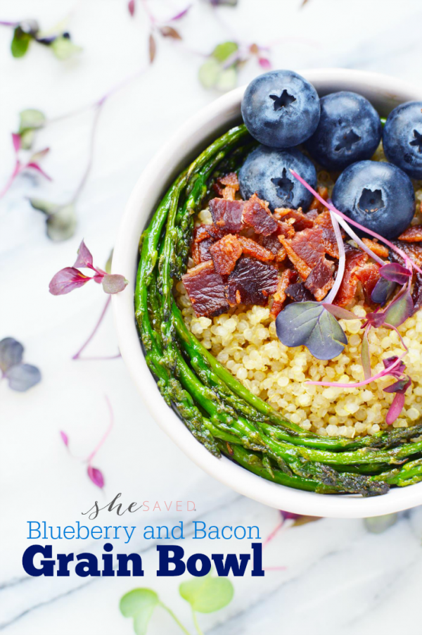 Blueberry and Bacon Grain Bowl from She Saved
