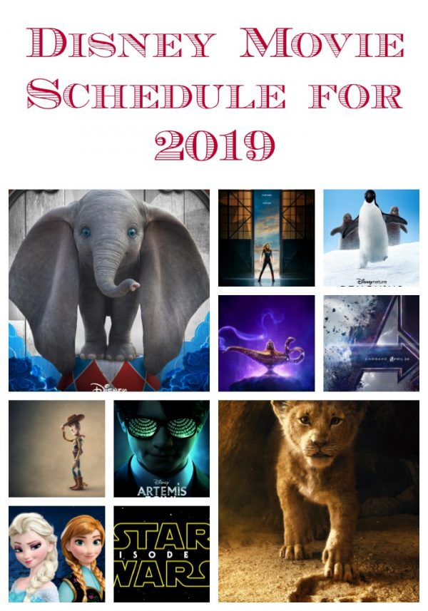 Disney Movie Schedule for 2019