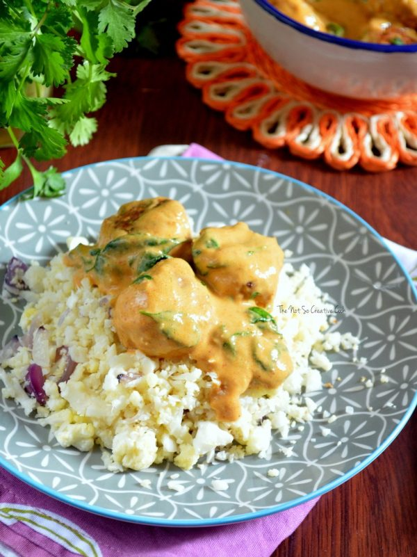 Chicken Meatballs in Coconut Curry Sauce from The Not So Creative Cook