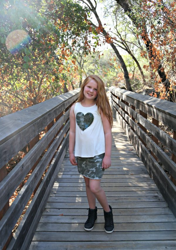 Camo Skirt and Heart Tee from Justice for Tween Fashion