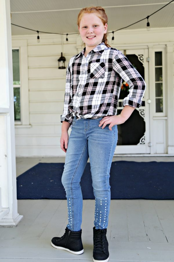 Jeweled Pull On Leggings and Perfect Plaid Button Up from Justice Fashion for Tweens