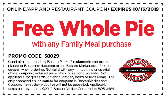 Boston Market Free Pie Coupon