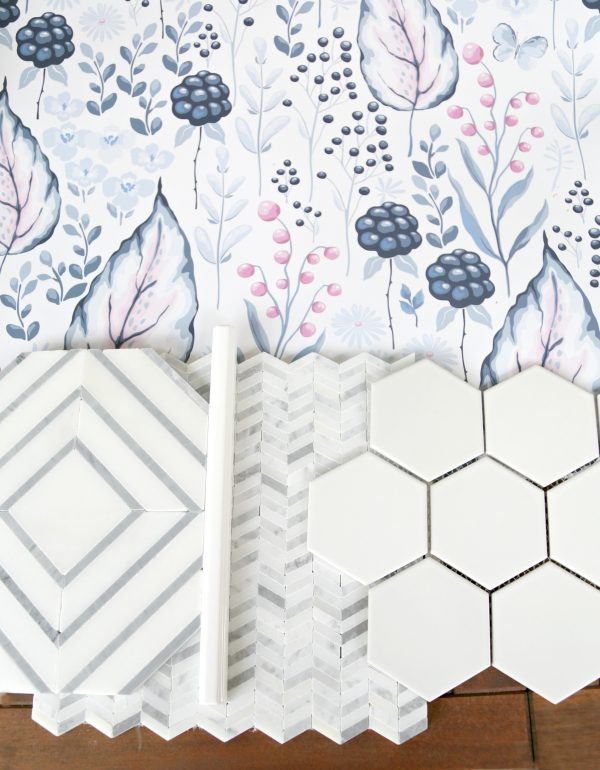 Jeffrey Court Tile and Wallpaper Coordination
