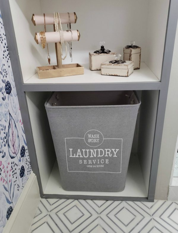Laundry storage in master bathroom