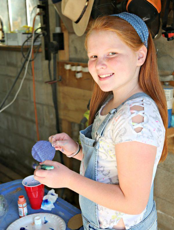 Bea painting gumdrop buttons
