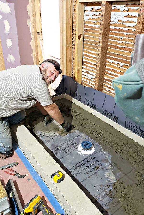 Building up Shower Floor