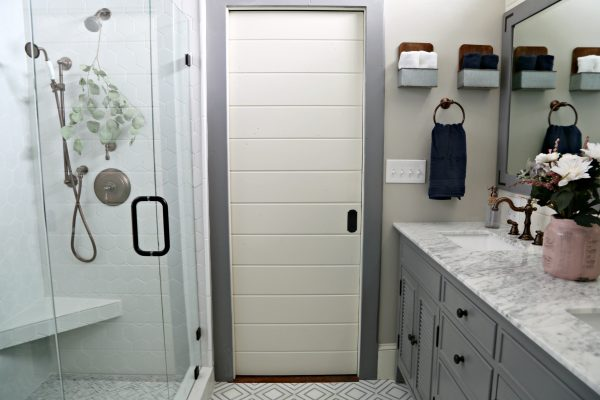 Master Bath Shiplap Pocket Door