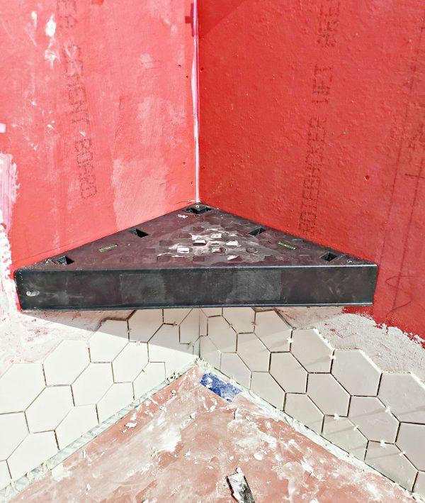 Tiling around a shower corner seat
