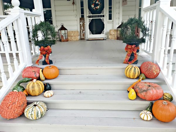 Simple Fall Porch Decorating with Artificial Trees and Plants