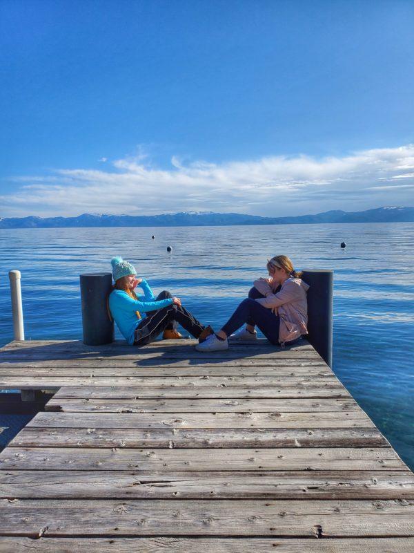 Sitting on the dock at Lake Tahoe