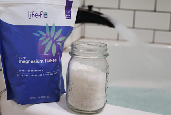soak in a tub filled with Life-flo Magnesium Flakes
